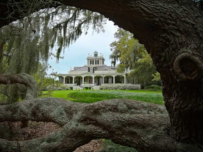 Joseph Jefferson Mansion at Jefferson Island, Louisiana, part of the Rip Van WInkle Gardens