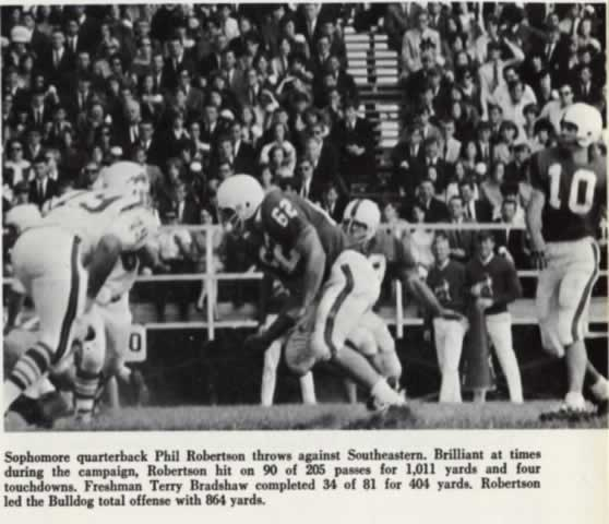 Tech sophomore quarterback Phil Robertson throwing a pass in 1966