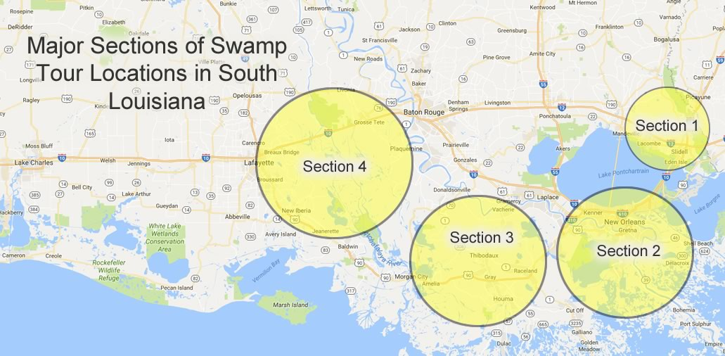 Map showing major sections of swamp tour locations in Louisiana