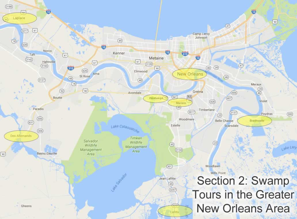 Map showing locations of swamp tours in the Greater New Orleans area in Louisiana