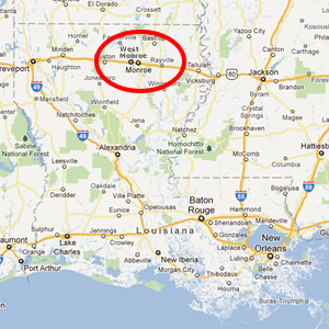 Map showing location of Monroe and West Monroe in Louisiana (courtesy