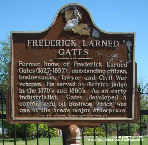 Historical marker of the former home of Frederick Larned Gates