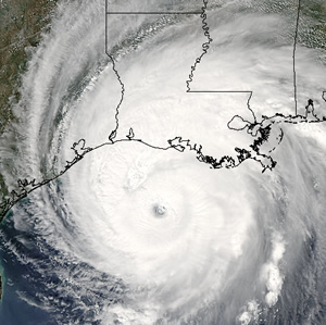 Hurricane Rita approaching the Louisiana Gulf Coast
