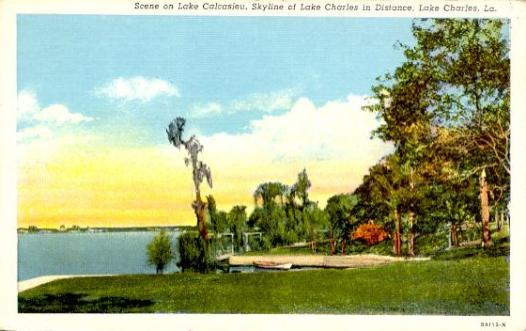 Scene on Lake Calcasieu, Skyline of Lake Charles in the distance