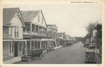 Historic image depicting Main Street, Marksville, Louisiana, circa 1920s