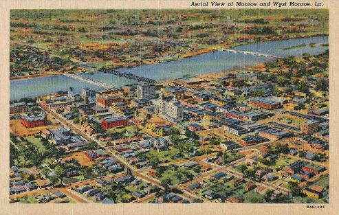 Aerial View of Monroe and West Monroe, Louisiana