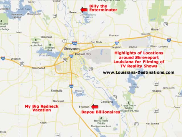 Map of Bayou Billionaires and Other Reality TV Shows Filmed in Shreveport Louisiana and surrounding towns like Frierson, Keachi, Stonewall, Keithville and Benton